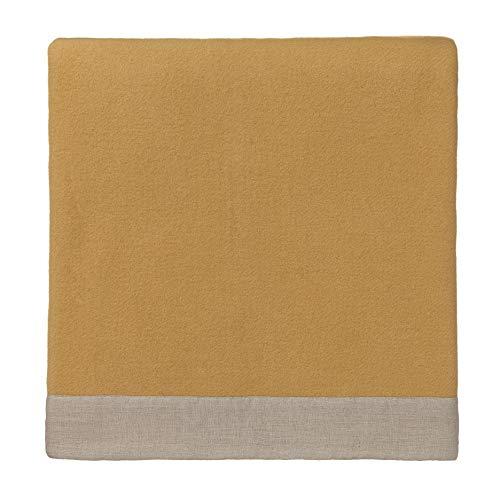 URBANARA 220x240 cm Wolldecke 'FYN' Senfgelb/Natur — 100% Reine skandinavische Wolle — Ideal als Überwurf, Plaid oder Kuscheldecke für Sofa und Bett — Warme Decke aus Schurwolle mit Leinenborte