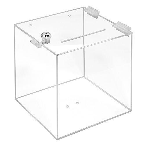 Losbox aus Acrylglas mit Schloß in 200x200x200mm - Zeigis® / Spendenbox/Aktionsbox/Gewinnspielbox/transparent/durchsichtig/Acryl/Plexiglas® / abschließbar
