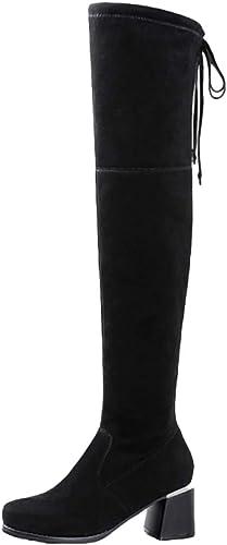 QQWE Au-Dessus des des des Bottes Au Genou pour Femmes épaissir Chaud Femmes Chaussures Bottes Longues Bottes Longues Talons Hauts Stretch Chunky Bottes Hautes 5d3
