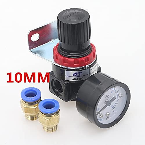 HYY-YY Válvula de reducción del regulador de presión del compresor de aire neumático de AR2000 1/4'Hilo BSP 4 mm 6 mm 8 mm 10 mm 12 mm accesorios de conector (Color : AR2000 PC10mm)