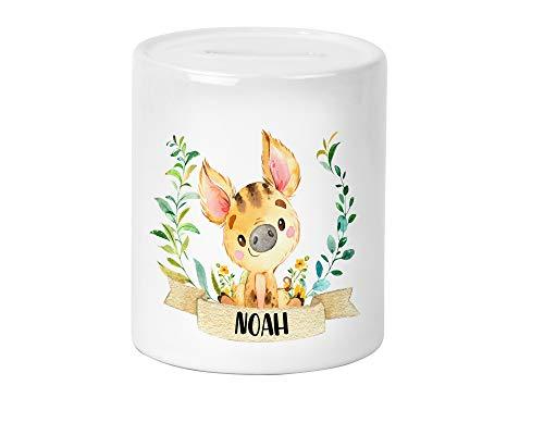 Waldtier Wildschwein Kinder-Spardose für Mädchen und Junge mit Namen personalisiert zur Einschulung Taufe Geburtstag Geburt Sparschwein Geldgeschenk