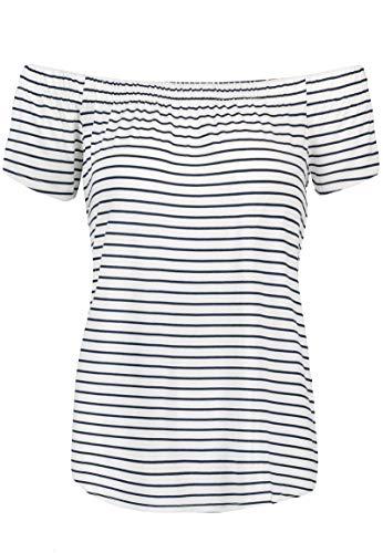 Sublevel Damen T-Shirt mit Carmen-Ausschnitt und Streifen White M