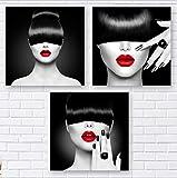 zszy 3 Stücke Schwarz und Weiß Friseur Mode Frau Schmuck Gemälde Wandkunst Leinwand Bild für...