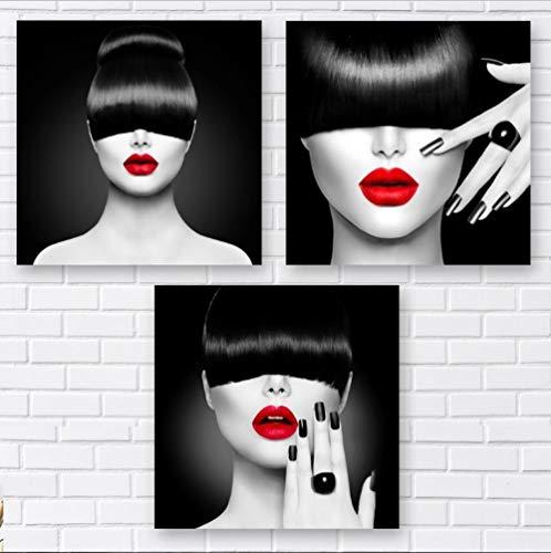 zszy 3 Stücke Schwarz und Weiß Friseur Mode Frau Schmuck Gemälde Wandkunst Leinwand Bild für Wohnzimmer-50x50 cmx3 stücke kein Rahmen