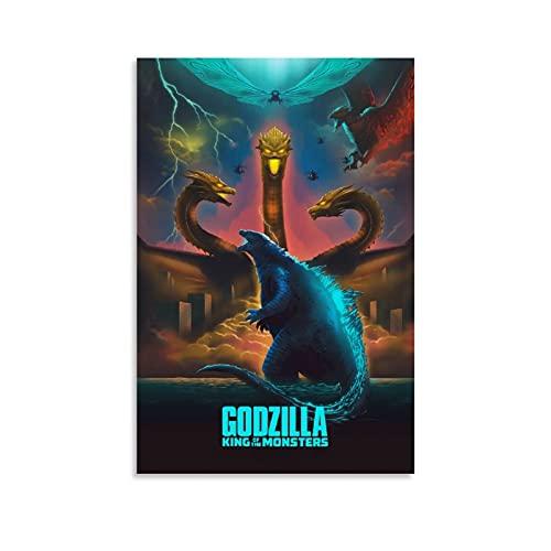 STTYE Godzilla - Póster de Rey de Monstruos para mujer, lienzo para pared, acuarela, decoración familiar, decoración de pared, restaurante, dormitorio, 60 x 90 cm