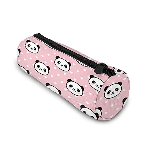 Pink Panda Pencil Case Bag Storage Pouch Simple Stationery Bag Holder for Middle High School Office College Student