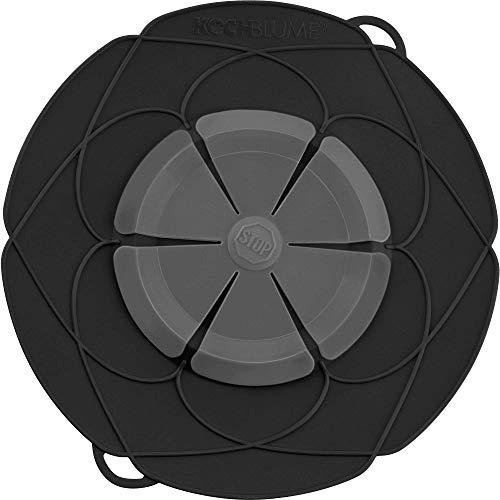 Kochblume das Original, Silikon Überkochschutz für Töpfe und Pfannen, Mikrowellen-Deckel, Spritzschutz und Dampfgar-Aufsatz | Set mit Zipptasche in der pinken Box (anthrazit, XL | Topfgröße 20-28cm)