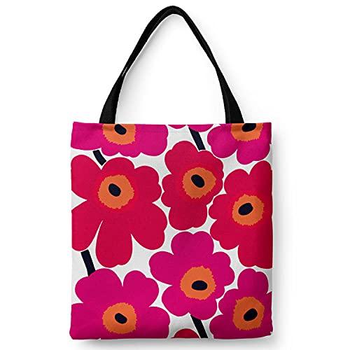Bolsos de hombro con cremallera de lona ecológica para mujer con bolsillo interior Bolsos reutilizables en caja Colorful Cherry -Big Saffron_S
