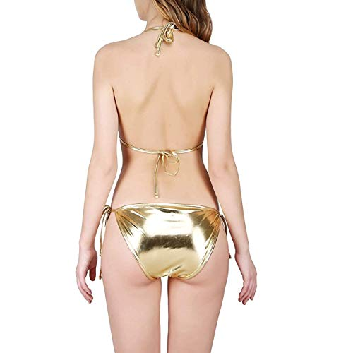 Jaanshi Women's Lycra Shiny Bikini Set (Metallic Golden, Free Size)