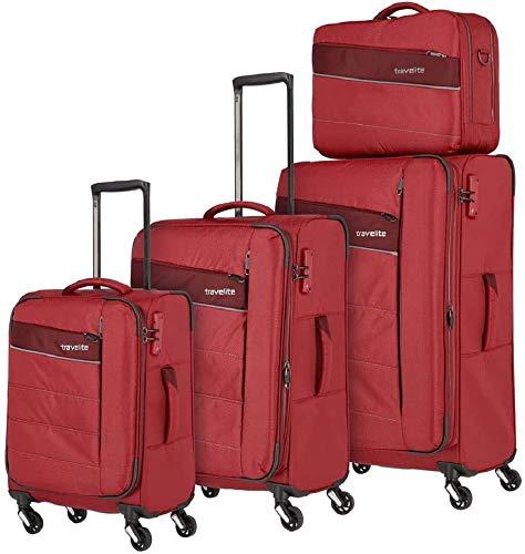 travelite 4-Rad Weichgepäck Koffer Set Größen L/M/S mit TSA Schloss, Handgepäck erfüllt IATA-Bordgepäck Maß, Gepäck Serie KITE: Extrem leichter Trolley...