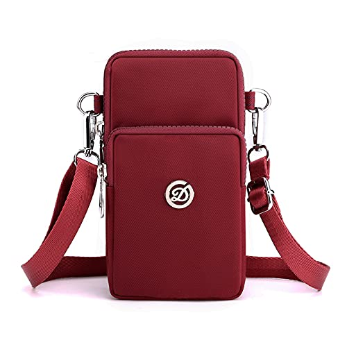 Bolso bandolera para teléfono celular, para Samsung Galaxy Note 20 Ultra/S21 Ultra/S20 Plus/A71 A21s, LG Stylo 6/V60 ThinQ, Moto G Power Stylus/OnePlus 8 Pro (rojo vino)