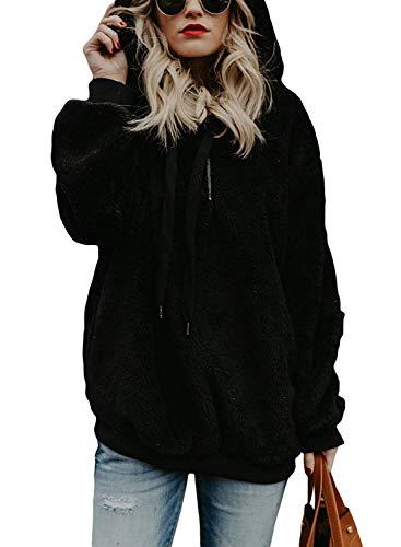 UMIPUBO Sweat Femmes Pull Pullover Oversize Hoodie Sweat à Capuche Poche Zippées Casual Flanelle Moelleux Chaud Automne Hiver Mode Sweatshirt Manches Longues Outerwear Tops,Noir,M