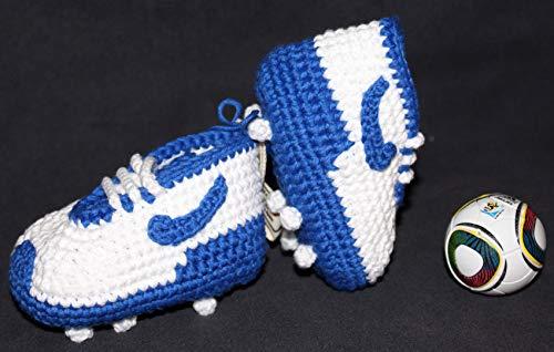 Patucos de fútbol para bebé de crochet, Unisex. Estilo Nike, 100% algodón, tallas de 0 hasta 12 meses, hechos a mano en España. Elige los colores de tu equipo favorito. Regalo para bebé.