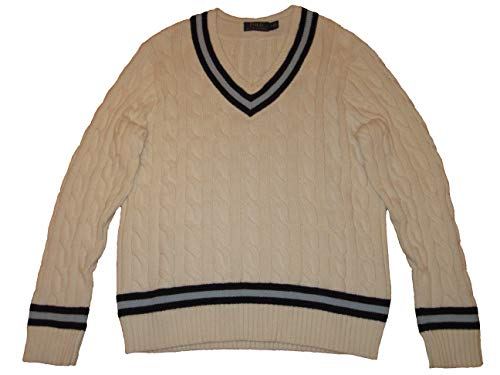 Polo Ralph Lauren Cotton Cricket Cable Knit Striped V-Neck Sweater (Chic Cream, Large)