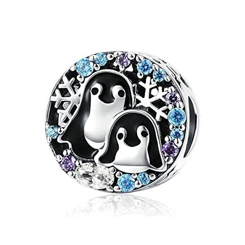 Las Mujeres De Plata De Ley 925 con Cuentas De Pingüinos Amor De La Familia Animal Colgante del Encanto De Pandora Pulseras Collar De Cuentas DIY Joyería Que Hace Accesorios