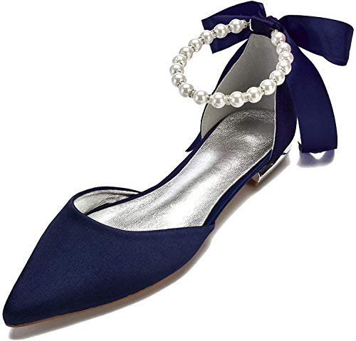 Eldecey Women Wedding Bridal Shoe Comfort Flat Satin Pearls Shoes Pointed Toe Ankle Strap Prom Evening Party Pumps Navy Blue US8.5