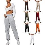Pantalones deportivos holgados para mujer con cintura alta con bolsillos para otoño e invierno, cómodos pantalones atléticos, gris, S