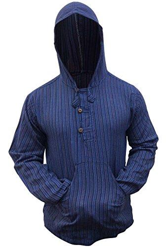 Shopoholic Fashion Mehrfarbig dharke Streifen Opa Kapuzenpulli Hemd, leicht - blaue Mischung, XX-Large