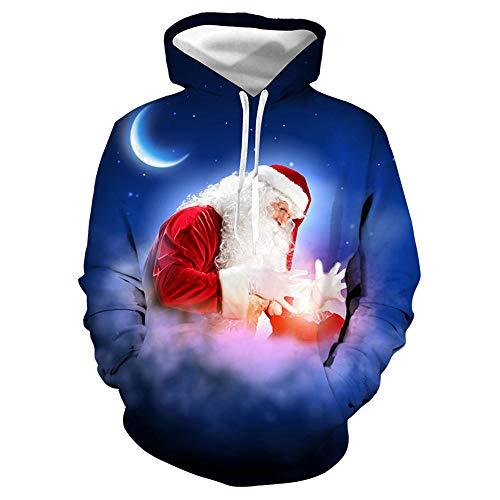Morton PegfwaS Santa Claus, digitaler übergroßer, mit Kapuze Baseballmann 3D, Spaß druckte Pullover, Sweatshirt
