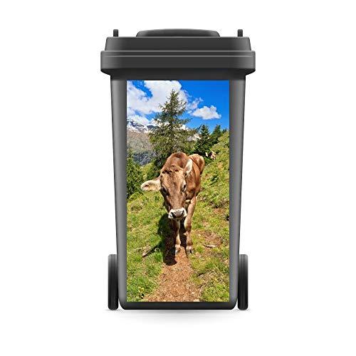WERBEPUNKT. Mülltonnenaufkleber Mülltonne Mülleimer Abfalltonne Kuh Alpen Berge Weg Natur- 720 x 320 mm