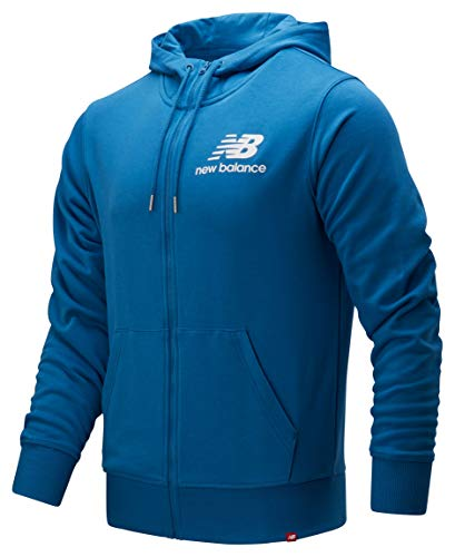 New Balance Herren Essentials Stacked Logo Full Zip Jacke, blau, Medium