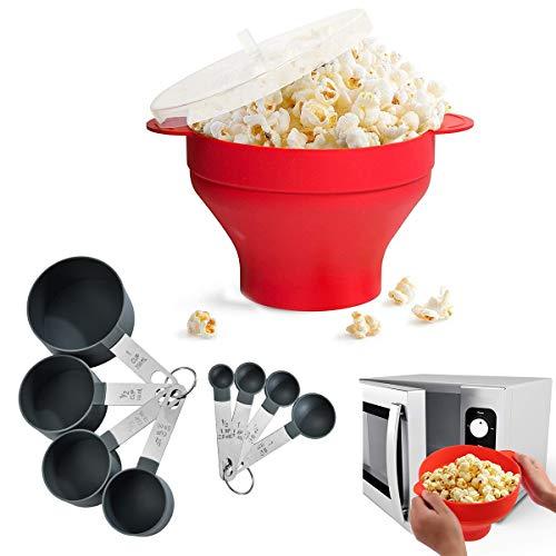 Popcorn Popper,CHENKEE Silikon Mikrowellen Popcorn Maker Kitchen Popcorn Popper Mikrowellen Zusammenfaltbar Faltschale mit Deckel und Griffen für Wohnheim Kleine Küche oder Büro
