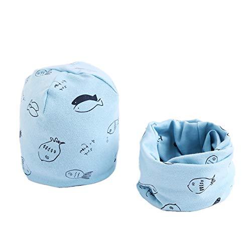 TGBN Conjunto de Sombreros de algodón Otoño Invierno Niñas Sombrero Bufanda Dibujos Animados Búho Estrellas Sombrero Primavera Niños Sombrero Bufanda Conjuntos de Cuello, pez Azul Claro, 6M-3Years