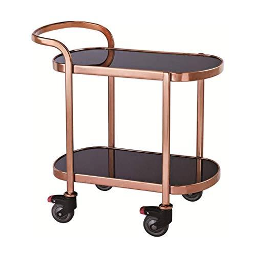 XUSHEN-HU Carro de servicio de 2 niveles, carro multifunción del hotel, carro de vino de gama alta, carrito de frutas de la rueda ultra silenciosa (Titanio, 93 x 52 x 85,5 cm) cocina