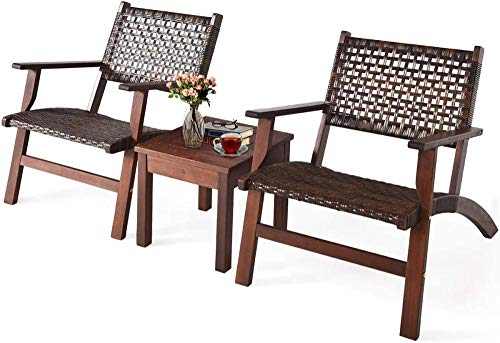 YRRA 3 stücke Terrasse Konversation Set Feste Eukalyptus Holzrahmen im Freien Wicker Möbel Set Bistro Set mit Couchtisch Rattan Möbel Set für Hinterhof (Braun)