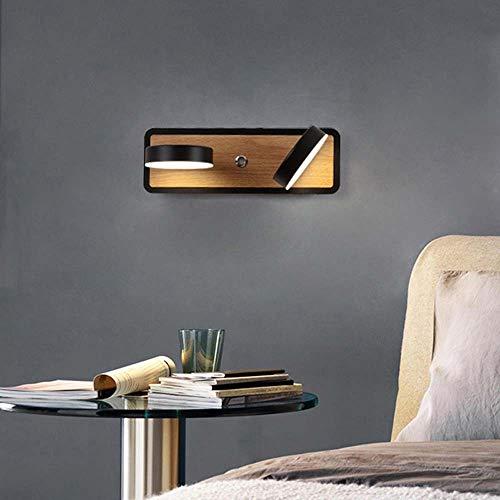 MGWA Lámpara de pared LED giratoria nórdica, lámpara de lectura para sala de estar, dormitorio, hotel, pasillo, 30 x 10 cm (blanco, negro) (color: negro)