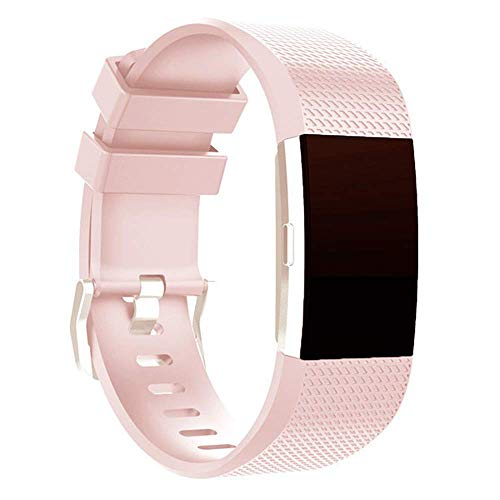 G-RF Bandas De Reloj para Fitbit Charge2 Pulsera TPE Cuadros Correa (L,Rosa Claro)