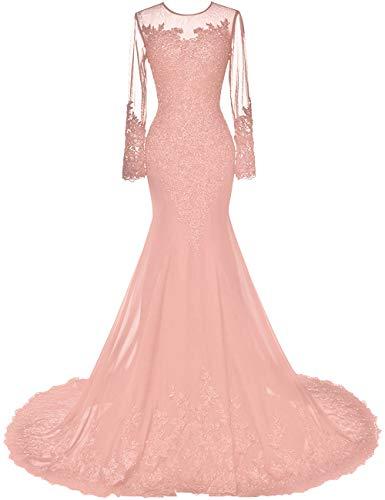 HUINI Vestidos de Noche Largos de Sirena Vestido de Novia Gasa Manga Larga Vestidos de Fiesta Cóctel Vestido Festivo Rosa Sucio 52