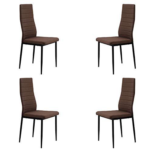 Niza, Pack de 4 sillas de Comedor, Salón o Cocina, Acabado en Tejido Color Chocolate, Medidas: 44 cm (Ancho) x 43 cm (Fondo) x 98 cm (Alto)