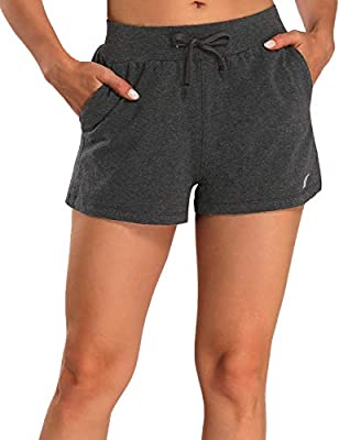 EZRUN Women's Active Lounge Shorts Sweat Cotton Workout Yoga Athletic Running Jogging Shorts with Pocket(Charcoal,L)