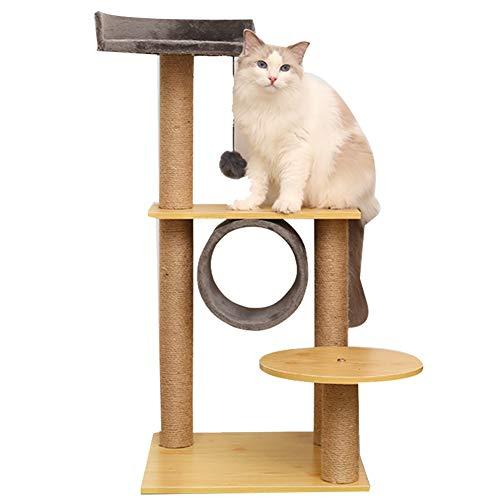 LXHONG Columpio para Gatos con Cenador, Una Torre para Gatos con Una Base Sólida, Torre De Escalada De Gato con Lindo Colgante para Balcón Cuarto De Los Niños Sisal, No Ocupar Espacio