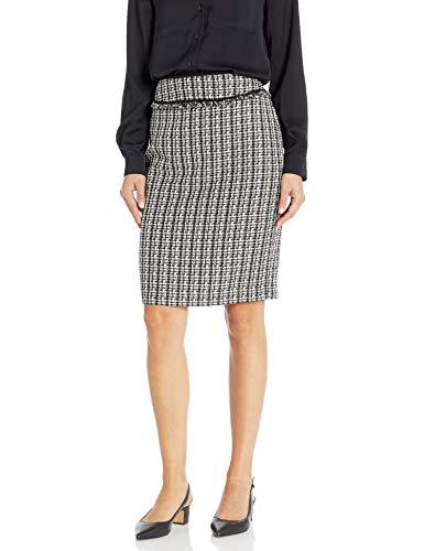 Calvin Klein Damen Women\'s Boucle Piped Skirt Kostüm (Set mit Rock und Blazer), Schwarz Multi, 36