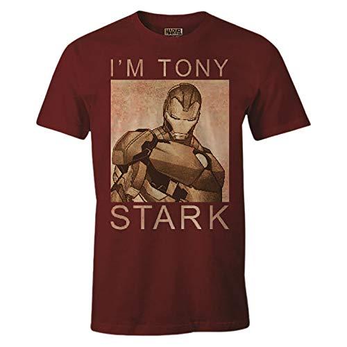 IronMan - T-Shirt da Uomo Sono Tony Stark Marvel Cotton Red - M