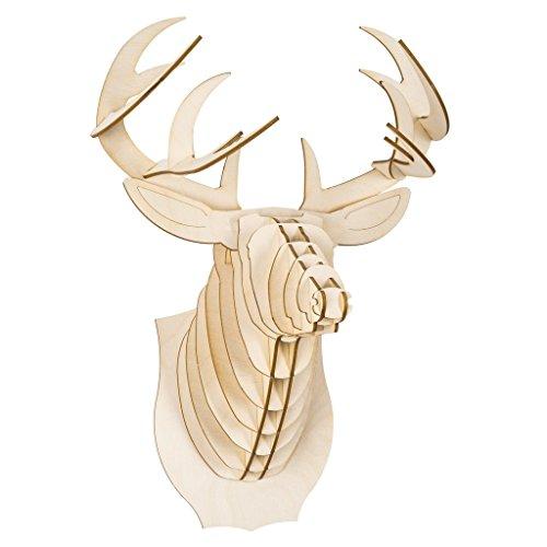 Cardboard Safari Baltic Birch Plywood Animal Taxidermy Deer Trophy Head, Bucky Large