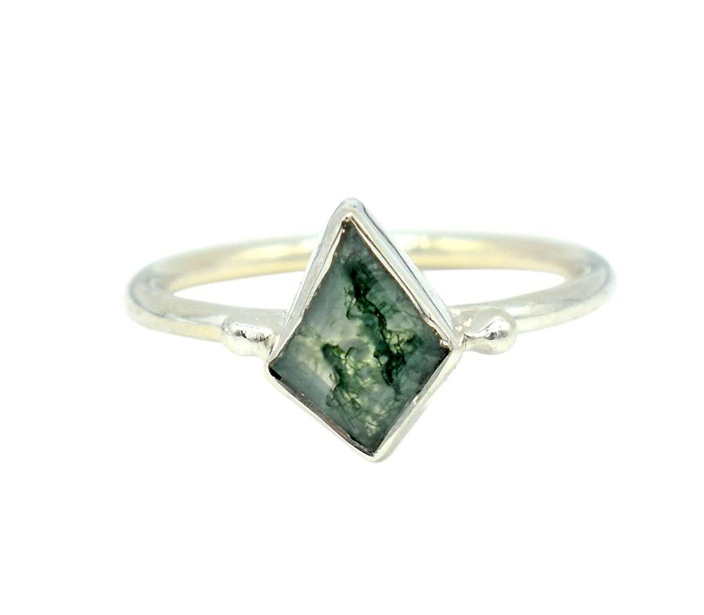 Designer Elegant Moss Agate Gemstone Excellence Dainty Green Ring