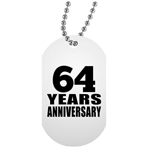 64th Anniversary 64 Years - Military Dog Tag Militär Hundemarke Weiß Silberkette ID-Anhänger - Geschenk zum Geburtstag Jahrestag Muttertag Vatertag Ostern