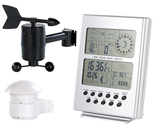FreeTec Jumbo-Wetterstation: Wetterstation mit Funk-Uhr, Außensensoren für Temperatur und Wind (Außenfühler-Wetterstation)