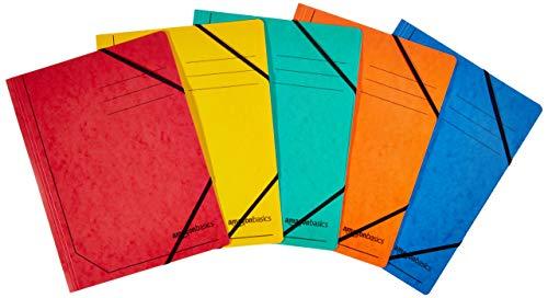 AmazonBasics - Cartellina in cartoncino colourspan con elastici, A4, confezione da 5, colori assortiti