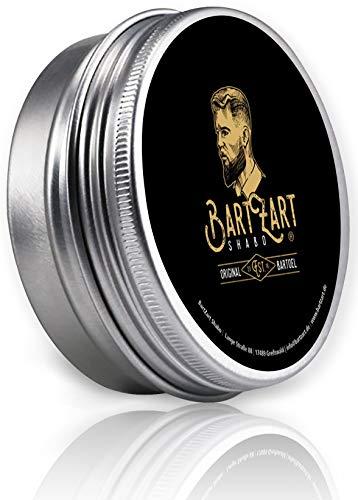 BartZart 50g Bartwachs mit Arganöl für gesundes Bartwachstum I Bartbalsam mit Zedernholz Duft I Bartpflege für Männer mit Vollbart I Beard Balm Wood