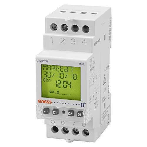 Interruptor horario y astronómico, marca GEWISS - 1 contacto NA/NC - 16A/230Vca - Bluetooth - 2 módulos DIN - reserva de carga 5 años - GWD6788