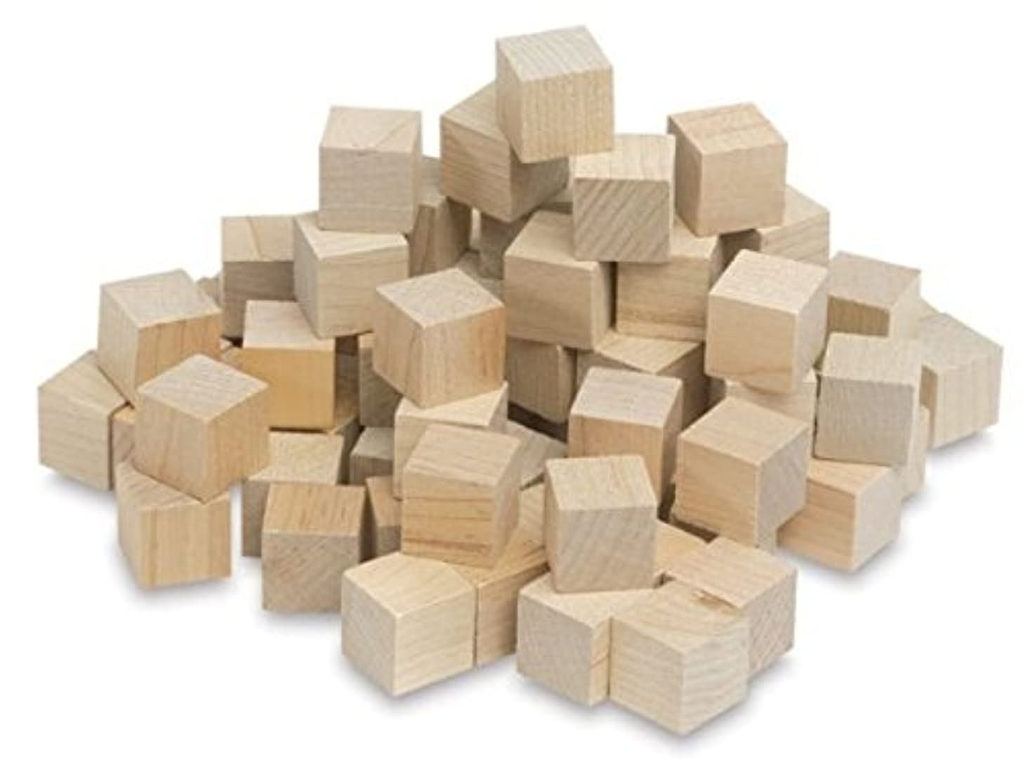 Hygloss Products Unfinished Wood Blocks - Blank Wooden Building Block Cubes – 3/4 Inches, 72 Pack