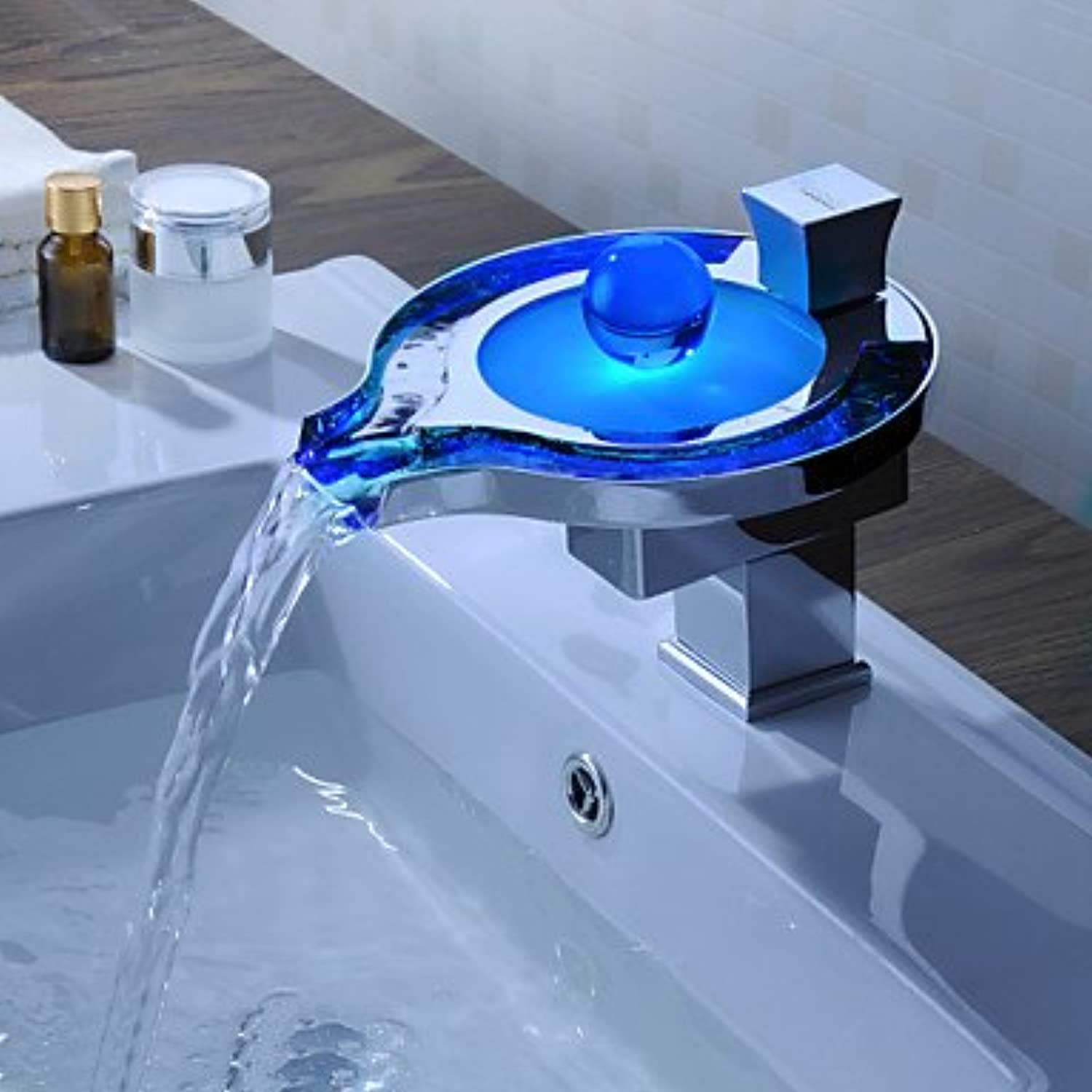 Furesnts Modern home kitchen and bathroom faucet color Changing LED Waterfall bathroom sink taps,(Standard G 1 2 universal hose ports)