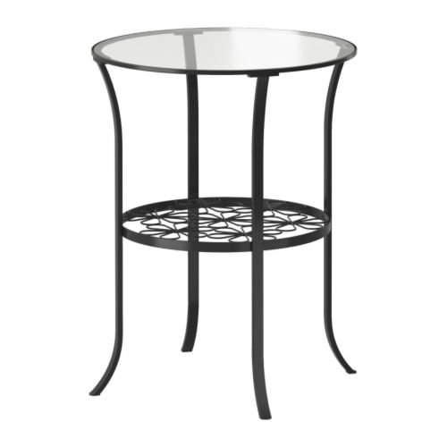 Ikea - Mesa Auxiliar KLINGSBO, Negro, Transparente 49 x 60 cm - Vidrio