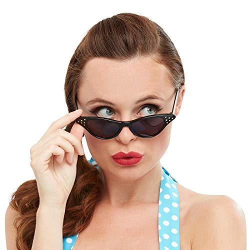 Amakando 50er Jahre Rockabilly Sonnenbrille / Schwarz / Party-Brille für Frauen Pin Up Style / Bestens geeignet zu Fasching & Kostümfest