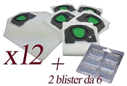 Bolsas de microfibra + ambientador para aspiradora Kobold Vorwerk VK200y VK201 12 Sacchetti + 12 Profumini