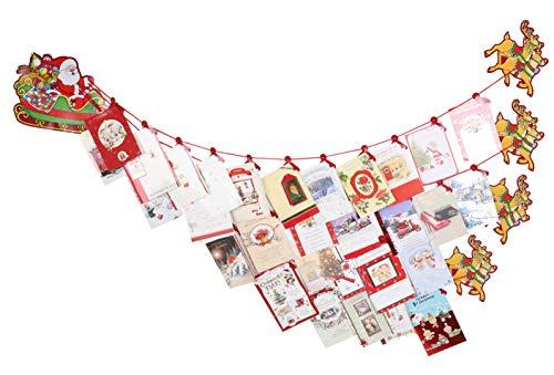 Toyland® Weihnachtskartenhalter für Weihnachtsmänner, Schlitten und Rentiere - Traditionelle Weihnachtsdekoration